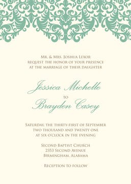 Seafoam damask wedding invitation on IVORY