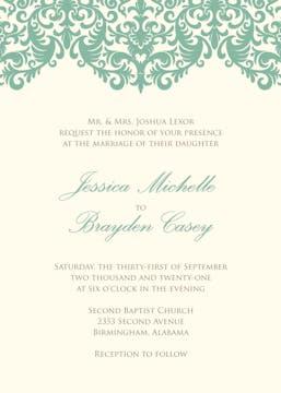 Seafoam damask wedding invitation on IVORY