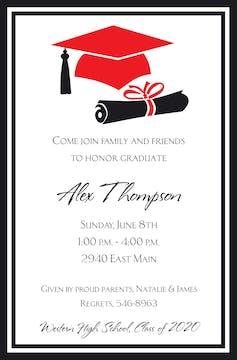 Red Grad Invitation