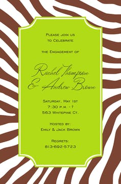 Zebra Cocoa Invitation