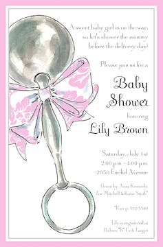 Classic Rattle Pink Invitation