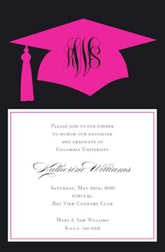 Pink Grad Invitation