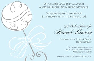 Swirl Rattle Blue Invitation