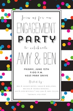 Confetti on Stripes Invitation