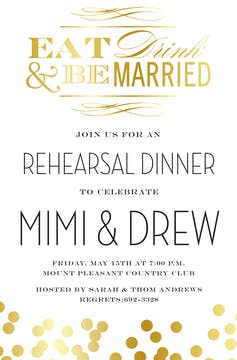 Eat, Drink, Married Invitation