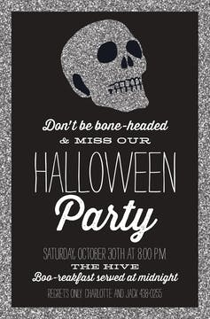 Glitter Skull Invitation