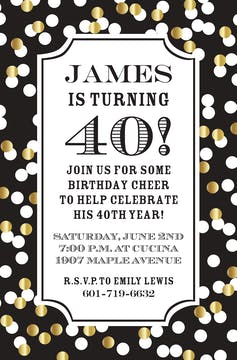 Confetti Black Invitation Invitation