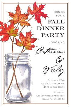 Leaf Branches Jar Invitation
