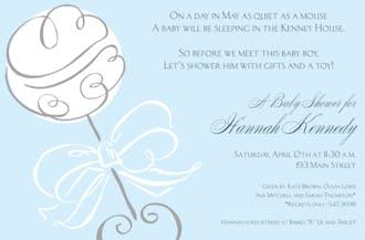 Swirl Rattle Blue Invitation