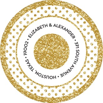 Glitter Frame Round Return Address Sticker