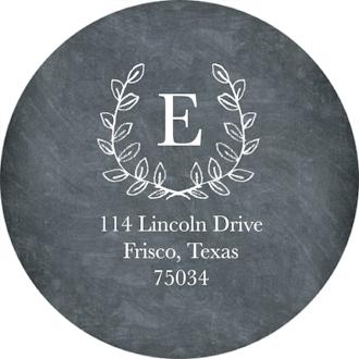 Grad Laurel Wreath Monogram Chalkboard Round Address Label