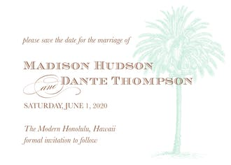 Vintage Palm Tree Save The Date Card
