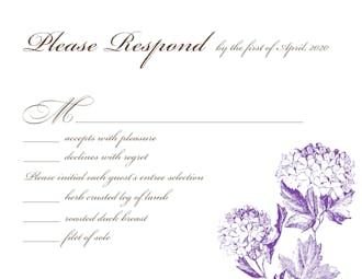 Vintage Hydrangea Reply Card