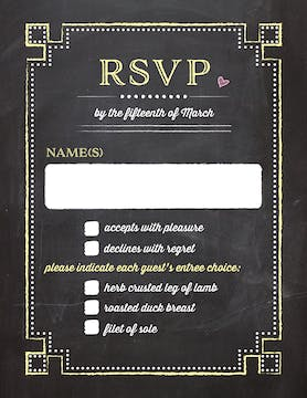 Chalkboard Chic Reply Card