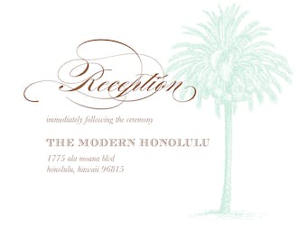Vintage Palm Tree Reception Card