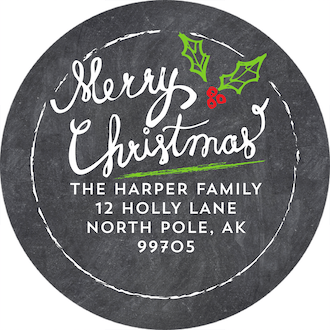 Handlettered Christmas Snowflakes Round Address Sticker