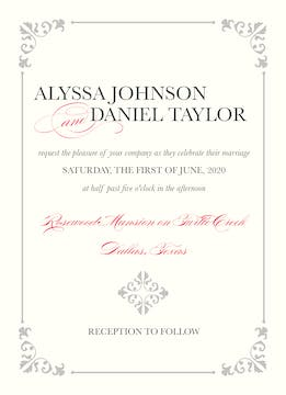 Embellished Romance Invitation