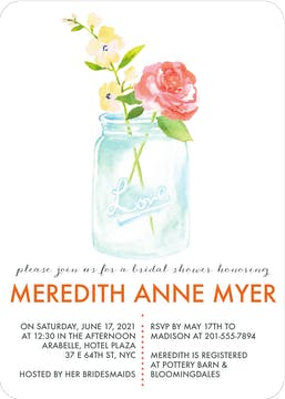 Watercolor Mason Jar Invitation