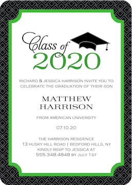 Graduate Cap Invitation Green