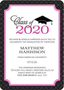 Graduate Cap Invitation Pink