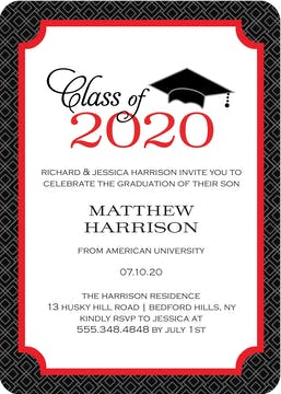 Graduate Cap Invitation Red Digital Photo Card