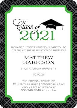 Graduate Cap Invitation Green