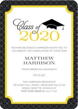 Graduate Cap Invitation Gold