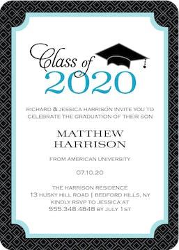 Graduate Cap Invitation Blue