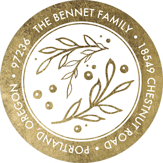 Golden Foliage Joy Round Address Sticker shown with (Faux) Foil