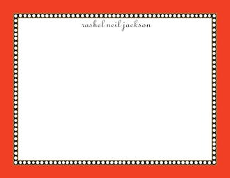 Beaded Border Orange Flat Note