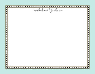 Beaded Border Aqua Flat Note