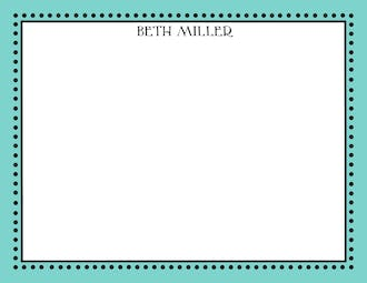 Antique Bead Border Dark Aqua & Black Flat Thank You Note