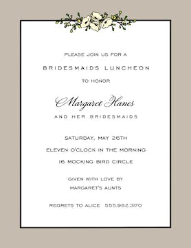 Floral Garland Taupe Invitation