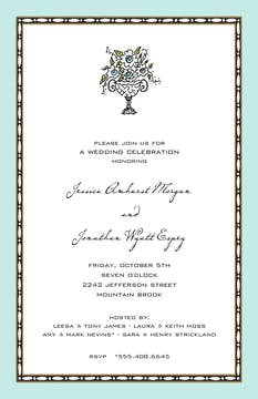 Rice Bead Border Aqua Invitation