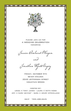 Rice Bead Border Olive Invitation