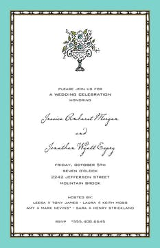 Rice Bead Border Dark Aqua Invitation