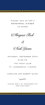 Vintage Border Navy Invitation