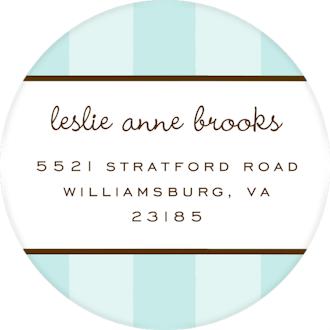 Classic Stripes Aqua Round Return Address Sticker