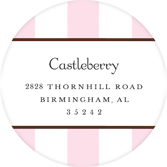 Classic Stripes Pink Round Return Address Sticker