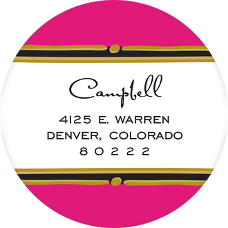 Vintage Hot Pink Round Return Address Sticker