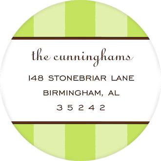 Classic Stripes Lime Round Return Address Sticker