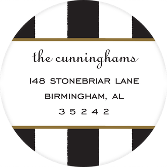 Classic Stripes Black Round Return Address Sticker