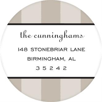 Classic Stripes Taupe Round Return Address Sticker