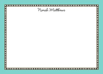 Beaded Border Dark Aqua Flat Note