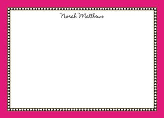Beaded Border Hot Pink Flat Note