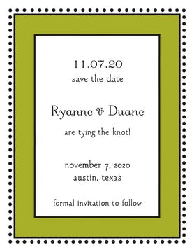 Antique Bead Border Olive Invitation