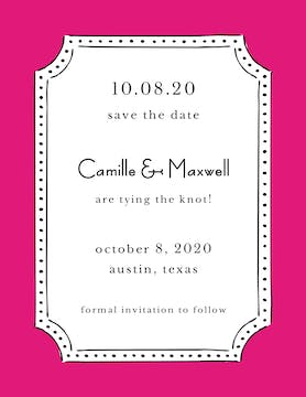 Antique Frame Hot Pink Invitation