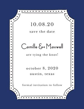 Antique Frame Navy Invitation