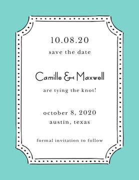 Antique Frame Dark Aqua Invitation