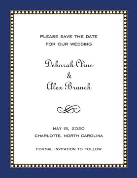 Beaded Border Navy Invitation